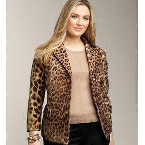 Talbots animal cheetah velour velvet blazer 18W